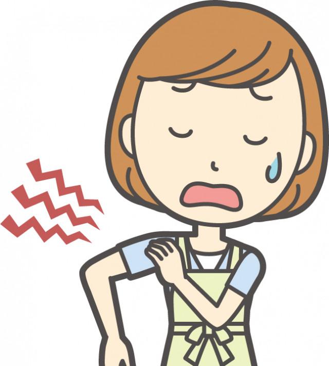 四十肩・五十肩(肩関節周囲炎)で苦しむ女性のイラスト